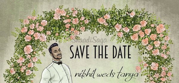 Illustrated save the date offbeat wedding invite idea tanya nikhil