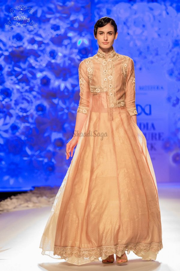 Anarkali gown blush pink organza full length anarkali with chinese collar rahul mishra india couture week 2016 960x1440